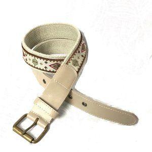 Genuine leather embroidered boho belt AJ8